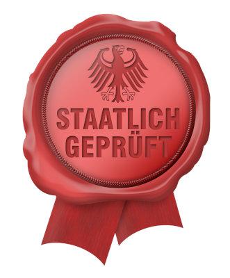 Siegel staatlich geprüft in Rot